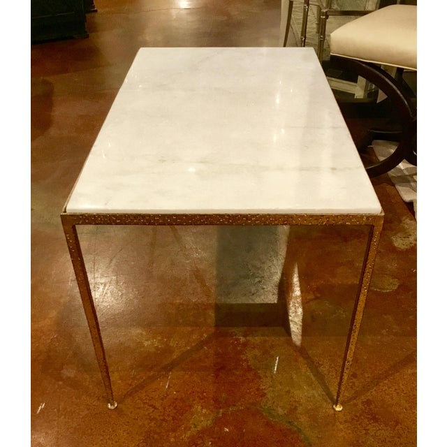 Arteriors Hammered Metal and Marble Cocktail Table - Image 2 of 5