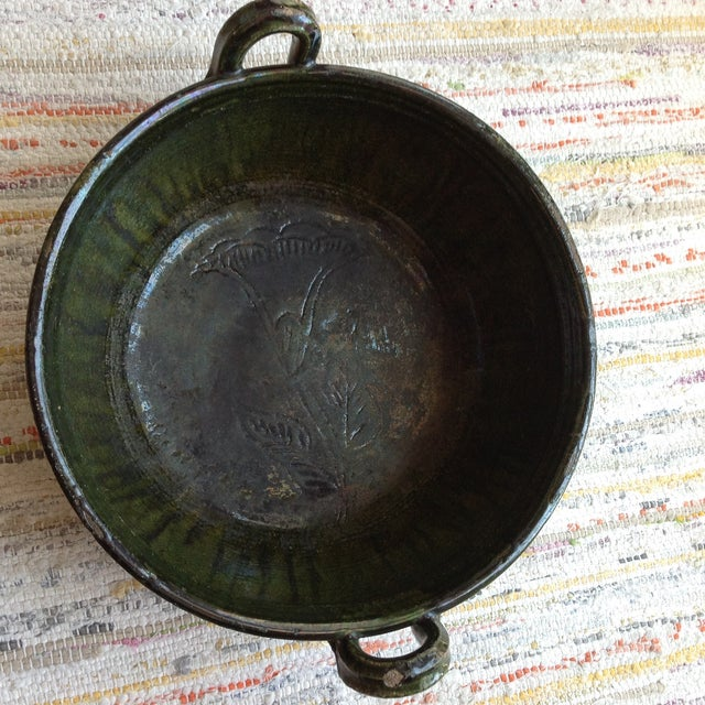 Vintage Rustic Green Studio Pottery Bowl - Image 2 of 9
