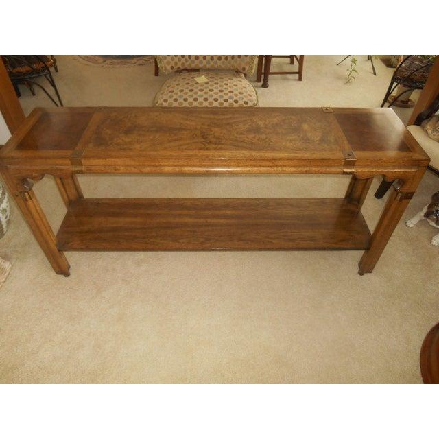 Mid-Century Mod Burled Walnut Console Table - Image 4 of 8