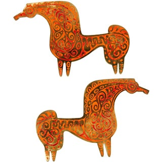 "Pair of Inlaid Brass ""Horse"" Door Pulls by Evelyn Ackerman"