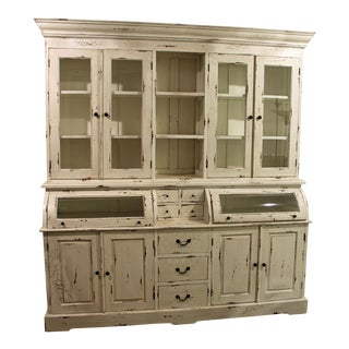 French Country Rustic Distressed White Bread Cupboard