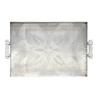 Canterbury Arts Art Deco Moderne Hammered Aluminum Serving Tray