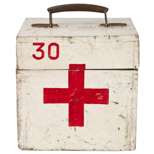 Vintage French Wood First Aid Box - Image 1 of 5