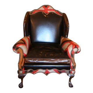 Contemporary Custom Wing Chair with circa 1900 Navajo Textile Inlay