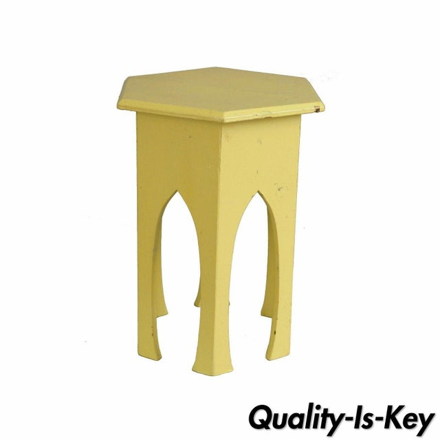 Primitive Rustic Moorish Style Yellow Painted Arched Accent Side Table - Image 11 of 11