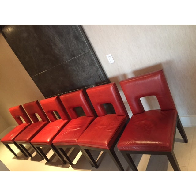 Image of Red Custom Made Dining Chairs - Set of 6