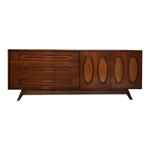 Image of Mid-Century Sculpted Burl Inlay Dresser