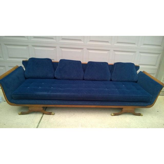 Mid-Century Modern Navy Blue Sofa - Image 2 of 6