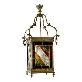 Victorian Brass and Stained Leaded Glass Hanging Hall Lantern c.1890