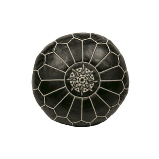 Embroidered Leather Pouf in White on Black