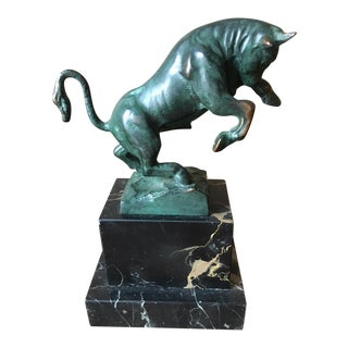 Bull Sculpture on Marble Stand