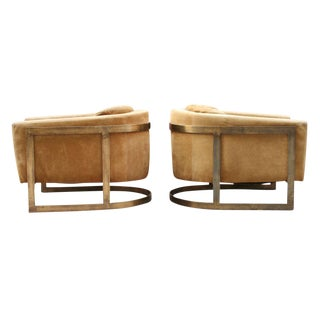 Bronze Frame Upholstered Barrel Lounge Chairs - a Pair