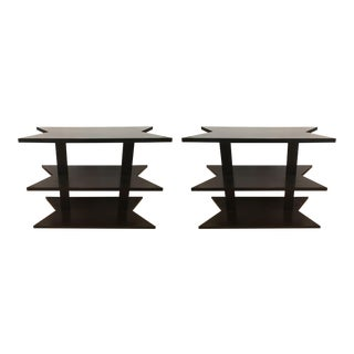 Nancy Corzine Black Three-Tiered Side Tables - Set of 2