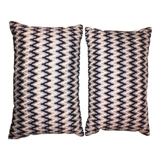 Wavy Chevron Embroidered Pillows - A Pair