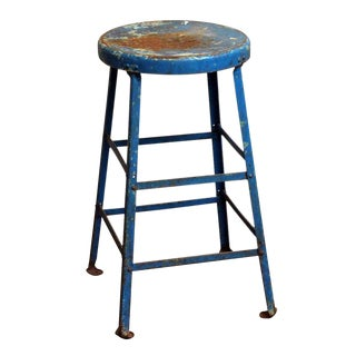 Blue Industrial Metal Stool