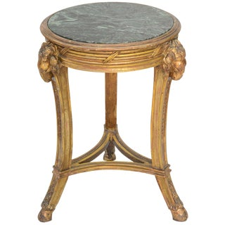Classical Form Round Giltwood Table with Marble Top
