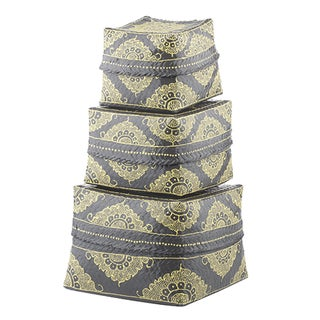 Dove Gray & Marigold Bamboo Baskets, Set of 3