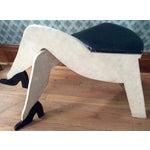 Image of Vintage 1950s Crossed Legs Painted Wood Stool