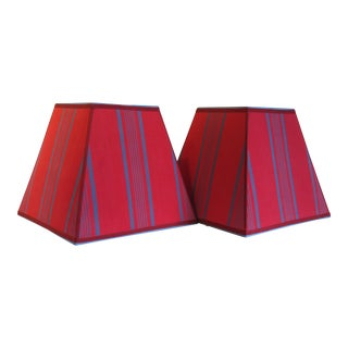 Ticking Stripe Fabric Lampshades - A Pair