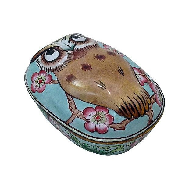 Cantonese Hand-Painted Enamel Owl Box - Image 2 of 7