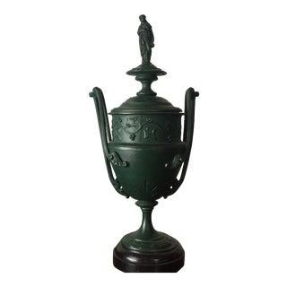 Antique Deep Green Grecian Metal Urn With Lid
