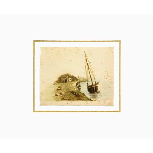 Image of Antique Watercolor Painting Shoreside, Circa 1900