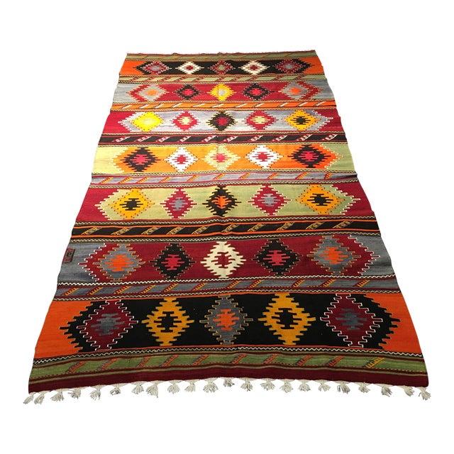 "Vintage Turkish Kilim Patterned Rug - 6'2""x11'3"" - Image 1 of 9"