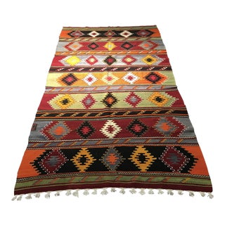 "Vintage Turkish Kilim Patterned Rug - 6'2""x11'3"""