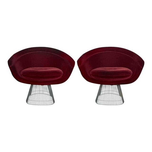 Platner Burgundy Mohair Lounge Chairs - A Pair - Image 1 of 3