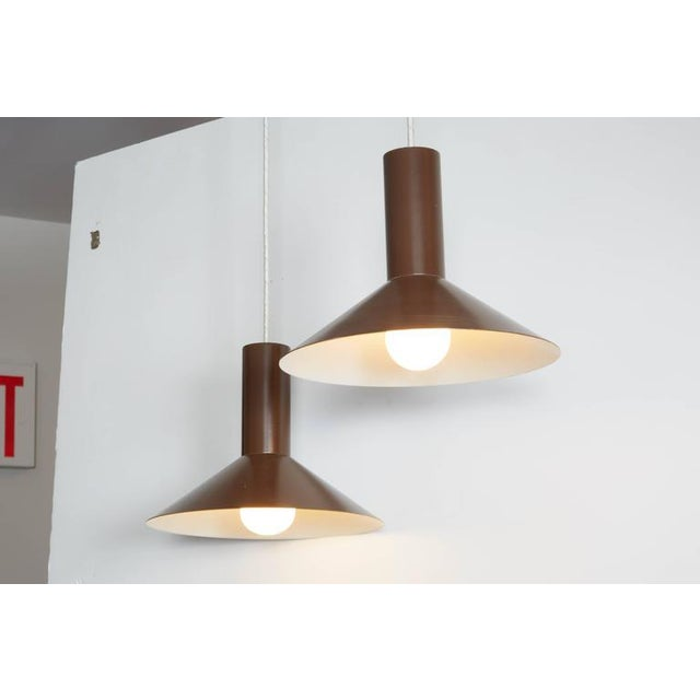 Brown Pendant Cone Lamps, Pair - Image 5 of 5