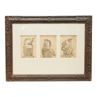 Framed set of Renaissance engravings of studies for statues