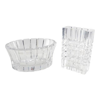 Orrefors Crystal Bowl & Vase - A Pair