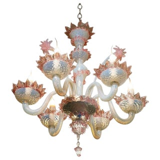 Pink and White Murano Blown Glass Chandelier with Flowers, Circa 1940