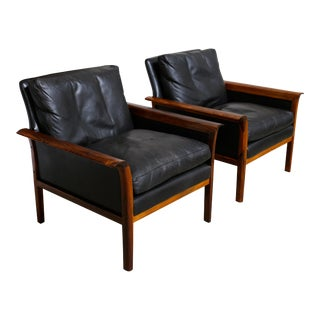 Pair of Rosewood and Leather Lounge Chairs by Knut Saeter