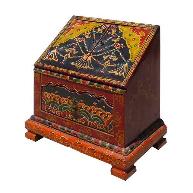 Tibetan Graphic Carved Wood Trunk - Image 3 of 4