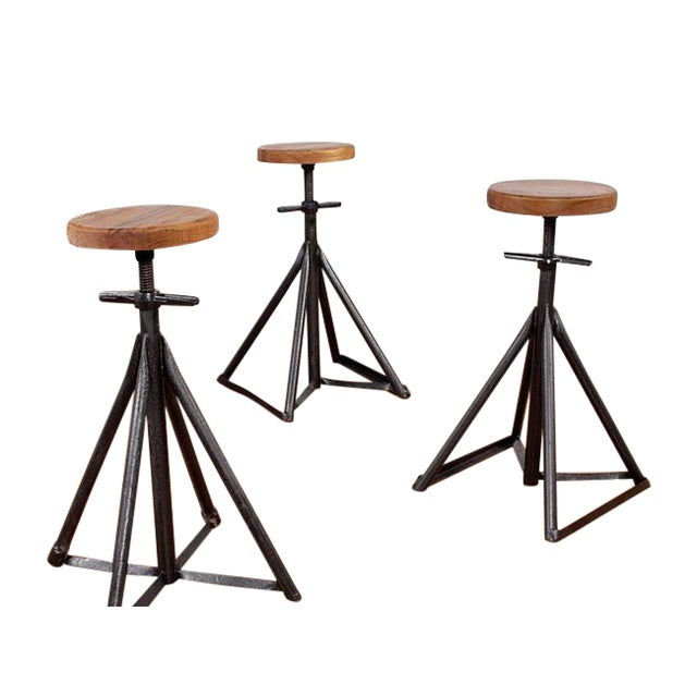 Custom Nautical Teak Bar Stools - Set of 3 - Image 1 of 4