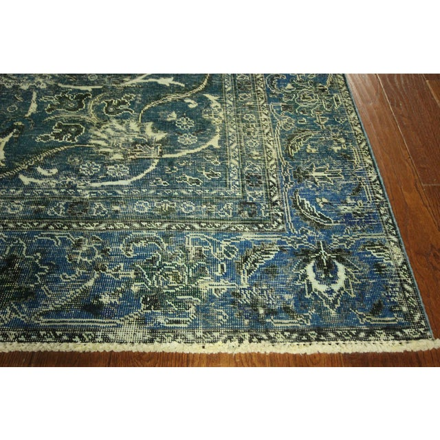 """Oriental Overdyed Tabriz Floral Rug - 9'2"""" x 10'2 - Image 8 of 11"""