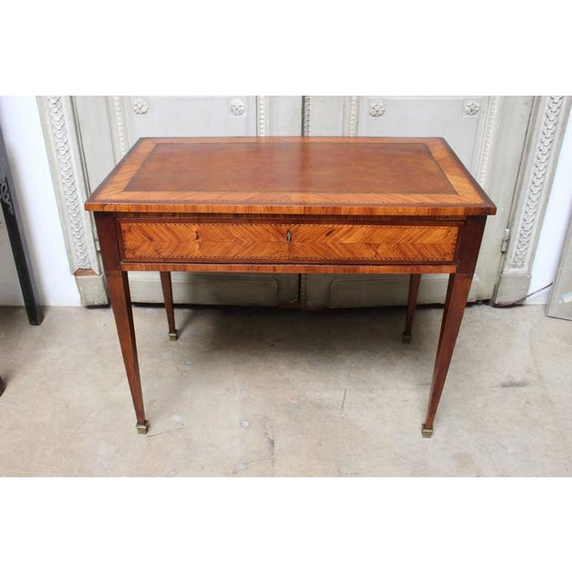 Image of Italian Neoclassical Writing Table with Leather Top
