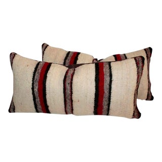 Pair of Handwoven Navajo Saddle Blanket Pillows