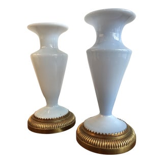 Vintage Blue Opaline Vases - A Pair