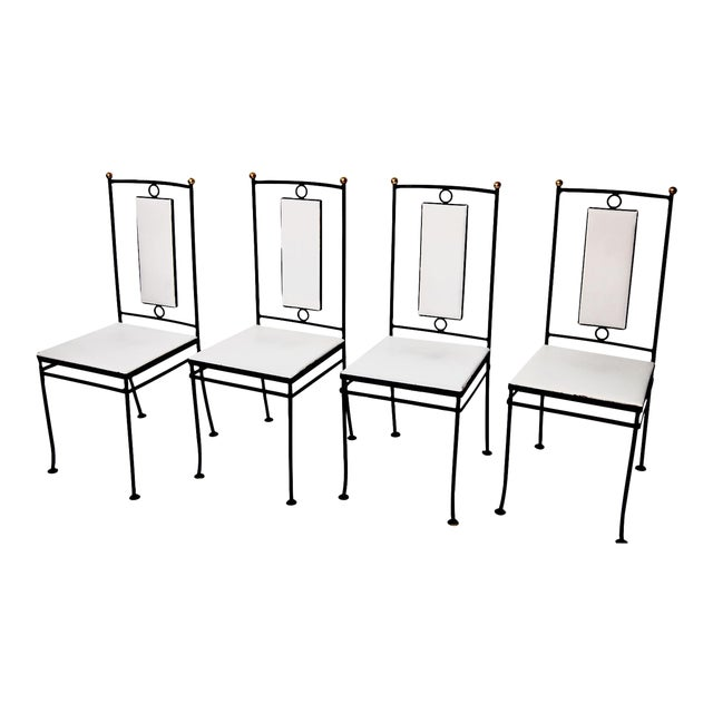 Mid-Century Hollywood Regency Iron & Brass Dining Chairs -Set of 4 - Image 1 of 11