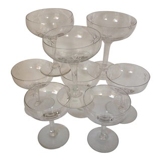 Set of 8 Vintage Etched Starburst Champagne Coupes Glasses