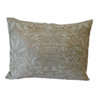 Vintage Fortuny Pale Blue & Gold Floral Pillow