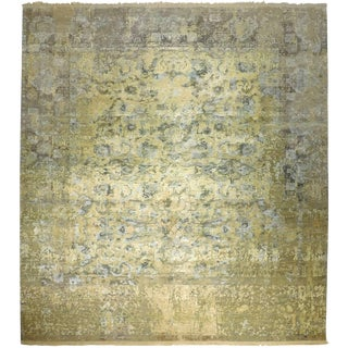 Hand Knotted Indian Wool and Silk Rug - 9'x 12'