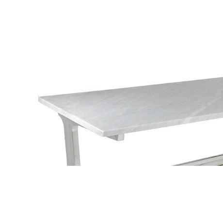 Petite Polished Aluminum Writing Desk Marble Top - Image 3 of 3