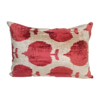 Silk Velvet Red Ikat Pillow