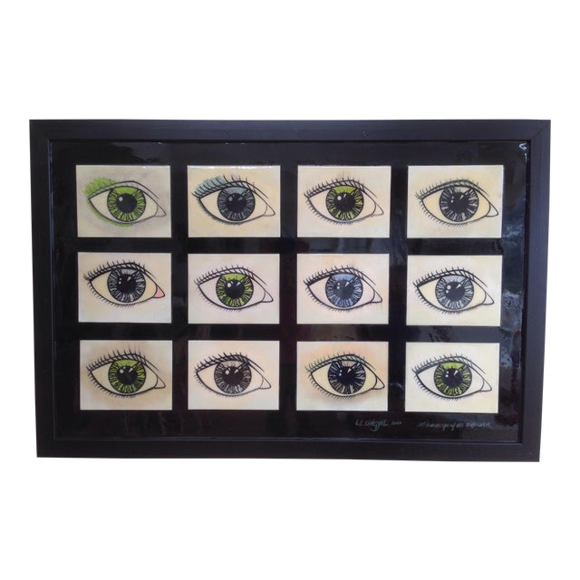Framed Mixed Media Series of Eyes - Image 1 of 5