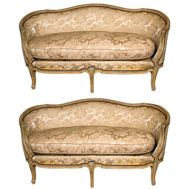 louis xv style canapes by jansen a pair chairish. Black Bedroom Furniture Sets. Home Design Ideas