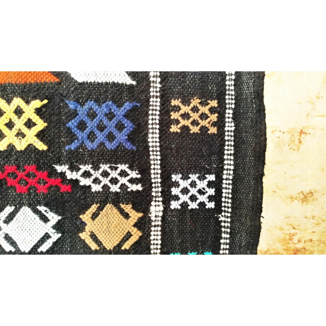 Moroccan Oued Zem Black Cotton Area Rug - 3′ × 4′6″ - Image 5 of 11