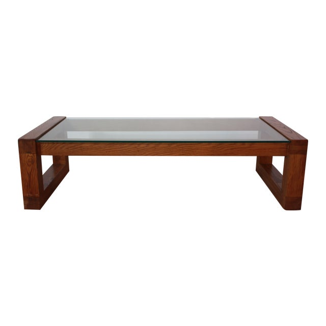 1970s Walnut Plate Glass Coffee Table Chairish